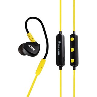 Intex BT-13 Wireless Sports Bluetooth Earphones - Yellow With HI-FI Microphone