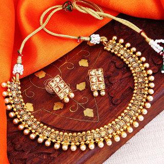 Sukkhi Moddish Gold Plated Choker Necklace Set For Women