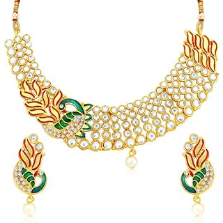9492597623e Buy Meia Brilliant Gold Plated Ad White Pearl Choker Necklace Set For Women  Online - Get 80% Off