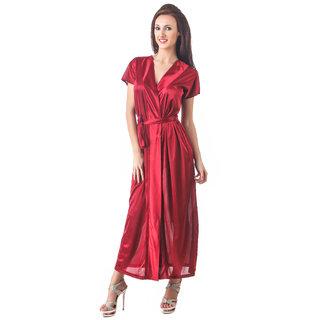 Fasense women's solid satin night wear sleepwear wrap gown for women DP102