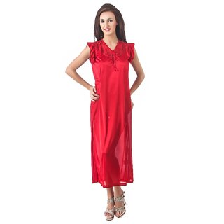 Fasense women s solid satin night wear sleepwear long nighty for women DP109 d83fdec18