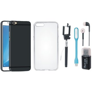 Samsung J5 Prime Silicon Slim Fit Anti Slip Back Cover with Memory Card Reader, Silicon Back Cover, Selfie Stick, Earphones and USB LED Light