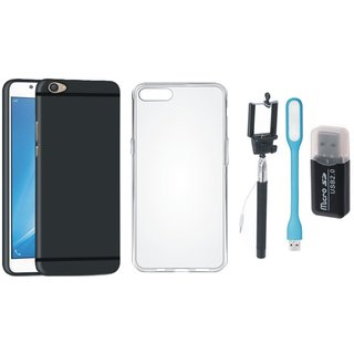 Samsung J5 Prime Silicon Slim Fit Anti Slip Back Cover with Memory Card Reader, Silicon Back Cover, Selfie Stick and USB LED Light