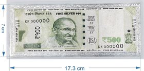 MAASILVER Fine Silver Currency Note of Rs 500 with 999 Purity