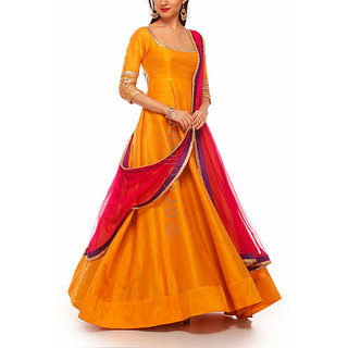 Fabrica shoppers  designer YELLOW(maza) Bangalore silk Anarkali suit
