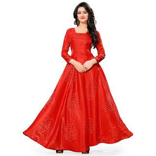 Fabrica shoppers designer Red BANGLORY SATIN silk Anarkali suit