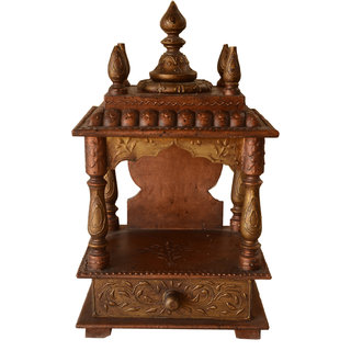 JP Arts Multicolor Embossed Painted Wooden Temple