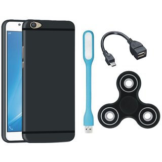 Samsung J5 Prime Silicon Slim Fit Back Cover with Spinner, USB LED Light and OTG Cable