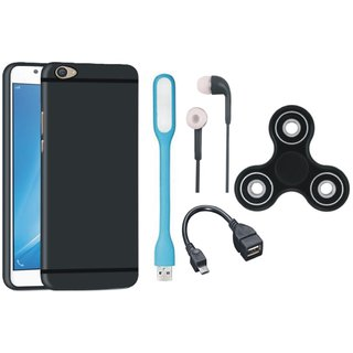 Samsung J5 Prime Silicon Slim Fit Back Cover with Spinner, Earphones, USB LED Light and OTG Cable