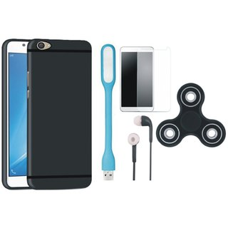 Samsung J5 Prime Silicon Slim Fit Back Cover with Spinner, Tempered Glass, Earphones and USB LED Light