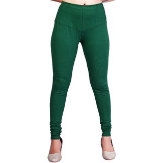 Krizler Women's Green Cotton Leggings