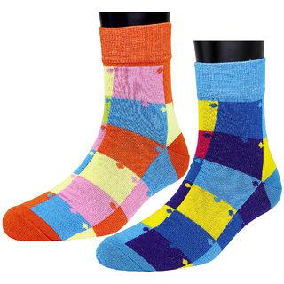 Neska Moda Premium 2 Pair Women Free Size Cotton Checks Ankle Length Quality Socks Multicolor S266