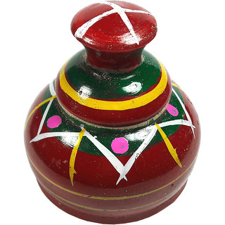 NDS Wooden Handmade Red Sindoor Box/Kumkum Box
