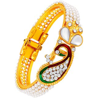 Asmitta Traditional Peacock Design Gold Plated Openable Kada For Women