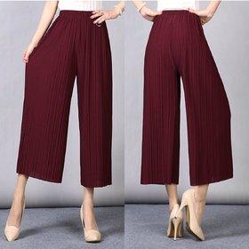 Code Yellow Women's Pleated Maroon High Waist Wide Leg Palazzo Pants