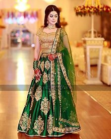 prity whomen golden and green embrodery work lahengha -bf03 golden and green embrodery work lahengha
