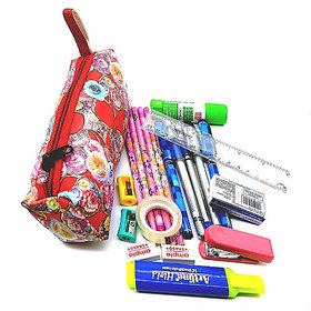Multicolor Fabric Pencil Pouch (5 Color Pencils,Pens,2 Sharpener,Eraser, 1 Scale,GlueStick,Stapler,StaplerPin,Highlighte