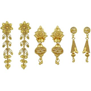 ELAKSHI Fashion Jewellery Gold Plated Stylish Fancy Party Wear  Jhumka/ Jhumki Traditional Earrings For Women  Girls combo pack 0f 3 (earing-01,02,015)
