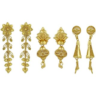 ELAKSHI Fashion Jewellery Gold Plated Stylish Fancy Party Wear  Jhumka/ Jhumki Traditional Earrings For Women  Girls combo pack 0f 3 (earing-01,02,18)