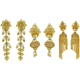 ELAKSHI Fashion Jewellery Gold Plated Stylish Fancy Party Wear  Jhumka/ Jhumki Traditional Earrings For Women  Girls combo pack 0f 3 (earing-01,02,20)