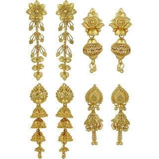 ELAKSHI Fashion Jewellery Gold Plated Stylish Fancy Party Wear  Jhumka/ Jhumki Traditional Earrings For Women  Girls combo pack 0f 4 (earing-01,02,04,06)