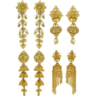 ELAKSHI Fashion Jewellery Gold Plated Stylish Fancy Party Wear  Jhumka/ Jhumki Traditional Earrings For Women  Girls combo pack 0f 4 (earing-01,02,04,020)