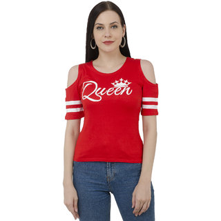d7351fac68c66 Buy BuyNewTrend Red Cotton Lycra Cold Shoulder Cut Printed Top For ...