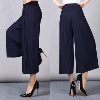 8fbef8fbada Buy Code Yellow Women s Pleated 3 4th Blue High Waist Casual Palazzo Pants  Online - Get 57% Off