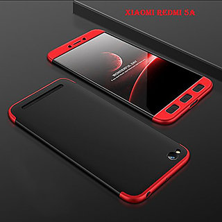 MOBIMON RedMi 5A Front  Back Case Cover Original Full Body 3-In-1 Slim Fit Complete 3D 360 Degree Protection Hybrid Hard Bumper (Black  Red) (LAUNCH OFFER)
