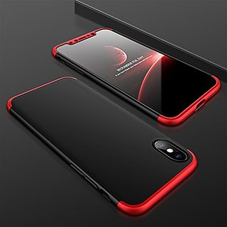 MOBIMON Iphone X Front  Back Case Cover Original Full Body 3-In-1 Slim Fit Complete 3D 360 Degree Protection Hybrid Hard Bumper (Black  Red) (LAUNCH OFFER)