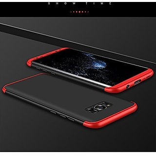 MOBIMON Samsung S8 Plus Front  Back Case Cover Original Full Body 3-In-1 Slim Fit Complete 3D 360 Degree Protection Hybrid Hard Bumper (Black  Red) (LAUNCH OFFER)