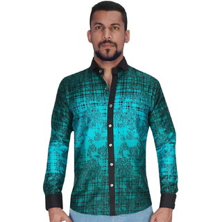 Panel Adjustent Design in Green  Black Color Shirt By Corporate Club