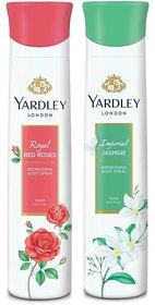 Yardley Jasmine, Red Roses (Pack of 2) Deo