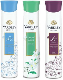 Yardley Jasmine, Lace Satin, Lace Pack of 3 Deodorants For Women