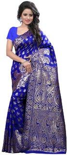 Fabrica Shoppers Latest Designer  Blue Banarasi Jacquard  Silk Saree
