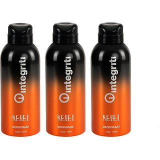 Integriti Rebel Deodorant Spray 150ml (Pack OF 3)