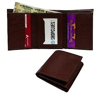 Tri fold leather wallet for mens