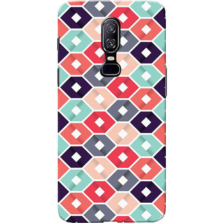 OnePlus 6 Case, One Plus 6 Case, Multi Square Slim Fit Hard Case Cover/Back Cover for One Plus 6