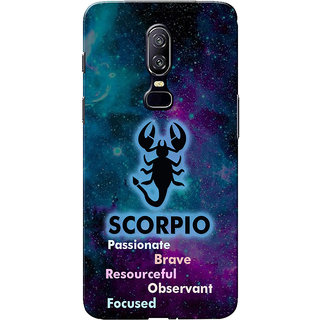 OnePlus 6 Case, One Plus 6 Case, Zodiac Sign Scorpio Characteristic Slim Fit Hard Case Cover/Back Cover for One Plus 6