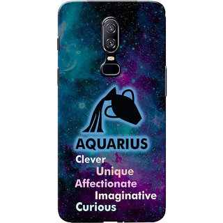 OnePlus 6 Case, One Plus 6 Case, Zodiac Sign Aquarius Characteristic Slim Fit Hard Case Cover/Back Cover for One Plus 6