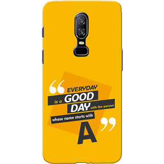 OnePlus 6 Case, One Plus 6 Case, Name Starts With A Yellow Orange Slim Fit Hard Case Cover/Back Cover for One Plus 6