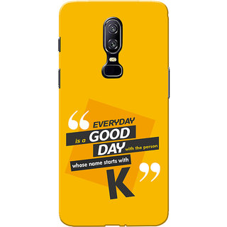 OnePlus 6 Case, One Plus 6 Case, Name Starts With K Yellow Orange Slim Fit Hard Case Cover/Back Cover for One Plus 6