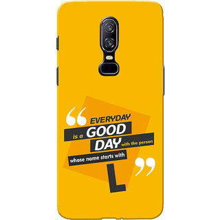 OnePlus 6 Case, One Plus 6 Case, Name Starts With L Yellow Orange Slim Fit Hard Case Cover/Back Cover for One Plus 6