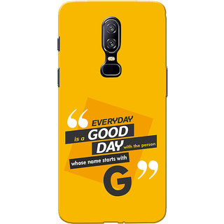 OnePlus 6 Case, One Plus 6 Case, Name Starts With G Yellow Orange Slim Fit Hard Case Cover/Back Cover for One Plus 6
