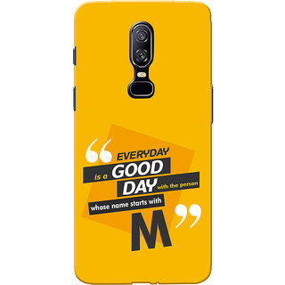 OnePlus 6 Case, One Plus 6 Case, Name Starts With M Yellow Orange Slim Fit Hard Case Cover/Back Cover for One Plus 6