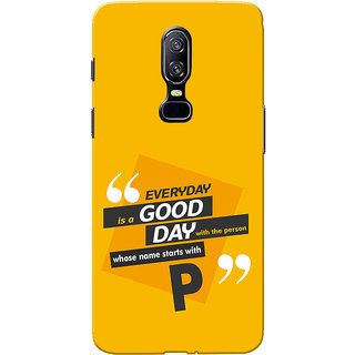 OnePlus 6 Case, One Plus 6 Case, Name Starts With P Yellow Orange Slim Fit Hard Case Cover/Back Cover for One Plus 6