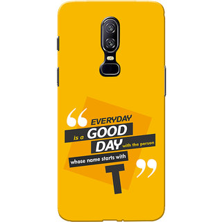 OnePlus 6 Case, One Plus 6 Case, Name Starts With T Yellow Orange Slim Fit Hard Case Cover/Back Cover for One Plus 6