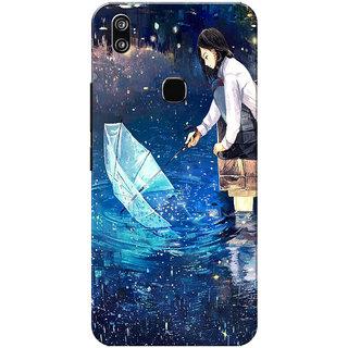 Vivo V9 Case, Vivo V9 Youth Case, Girl Enjoying Rain Blue Slim Fit Hard Case Cover/Back Cover for Vivo V9