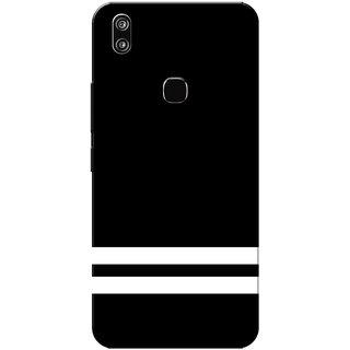 Vivo V9 Case, Vivo V9 Youth Case, Two Lines Black White Slim Fit Hard Case Cover/Back Cover for Vivo V9