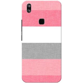 Vivo V9 Case, Vivo V9 Youth Case, Strips Pink Grey Slim Fit Hard Case Cover/Back Cover for Vivo V9